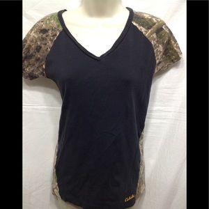 Women's size Medium CABELA'S camo v-neck tee